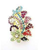 Designer Saree Pin & Brooch, Multi Color Stone Stud, Gold Tone, For Women