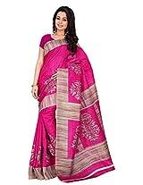 Silk Bazar Women's Tassar Silk Saree with Blouse Piece (Pink)
