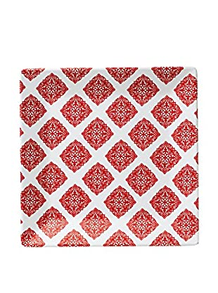 Q Squared NYC Diamond Dinner Plate, Red/White