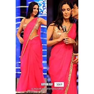 Katrina Kaif Georgette Embroidered Pink Bollywood Style Saree - K14