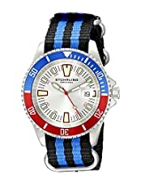 Stuhrling Original Men's 907.331OC2 Aquadiver Regatta Bravura Swiss Quartz Date Black and Blue Canvas Strap Watch