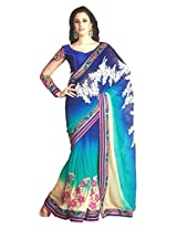 Faux Georgette Blue & Colour Saree for Party Wear