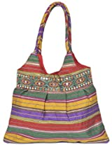 Multi-Color Shopper Bag with Ari Embroidered Patch Border - Art Silk [Apparel]