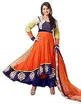 Surat Tex Orange & Blue Color Festival Wear Embroidered Net & Velvet Semi-Stitched Anarkali
