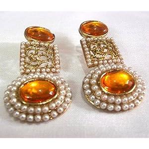 Earrings - Circle pearl Orange Polki Earrings