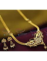 22Ct Gold Plated South Indian Traditional Jewellery Necklace Set American Diamond Imitation