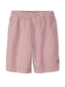 French Connection Men's Pinstriped Swim Trunks (Post Red)
