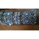 Yellow Brass Alloy Crystal Traditional Bangle Set of 12