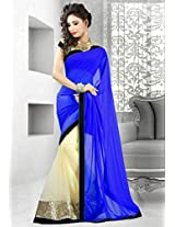 Clickedia Faux Georgette Saree (Half Blue Half Gold _Blue)