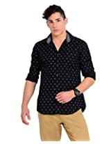Sting Black Solid Slim Fit Half Sleeve Cotton Casual Shirt -SG0009B258HL