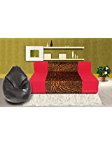Dolphin Zeal 3 Seater Sofa Bed (Red & Gold) & XXL Bean Bag Cover Free ( Black)