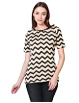 Besiva Beige black printed knitted top