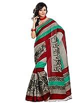 Riti Riwaz Maroon Bhagalpuri Silk saree with unstitched blouse LNY6114A