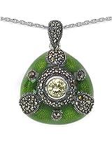 Enamelour Marcasite Silver Pendant
