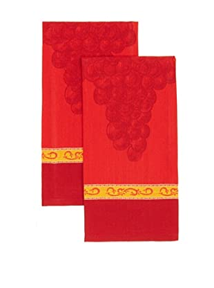 Mierco Fine Linens Set of 2 Grape Jacquard Tea Towels, Burgundy, 20