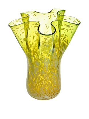 Meridian Glass Hand-Blown Flower Vase, Tiffany Olive Green/White