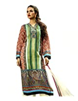 Admyrin Multi Colour Cotton Salwar Kameez with Cream Chikan Work Bottom and D...