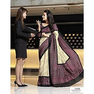Sun Fashions Amisha Patel Bhagalpuri Minakari Saree - Ivory