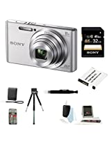 Sony DSCW830 DSCW830 W830 20.1 Digital Camera with 2.7-Inch LCD (Silver) + Sony Flip Style Case Black + Sony 32GB SDHC/SDXC Memory Card + Focus 5 Piece Deluxe Cleaning and Care Kit + Accessory Kit
