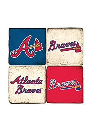 Studio Vertu Set of 4 Braves Logoed Tumbled Marble Coasters with Stand