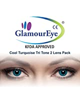 Glamour Eye Cool Turquoise Tri Tone Colour Contact Lens Monthly 2 Lens Pack By Visions India -0.00
