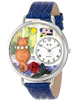 Whimsical Watches Unisex U0120001 Aristo Cat Royal Blue Leather Watch