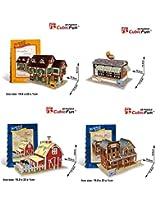 3d Puzzle Set of 4 fun 3d Puzzles 1)Wester Bar 2)Restaurant,USA 3)Farm, American Flavor 4)Grocery, German Flavor Cubicfun magic puzzle 142 Pieces