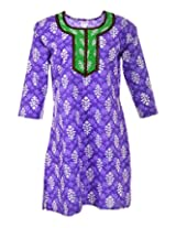 Nira Women's Cotton Regular Fit Kurti (Purple,44)