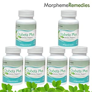 Morpheme Diabeta Plus Supplements For Diabetes & Blood Sugar Levels - 500mg Extract - 60 Veg Capsules - 6 Combo Pack