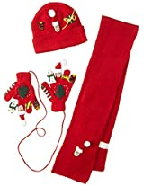 Kidorable Little Girls' Christmas Hat Scarf Set, Red, Large