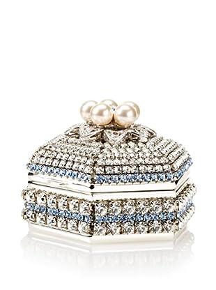 Isabella Adams Freshwater Pearl & Swarovski Crystal Hexagon Keepsake Box, December (Light Sapphire)