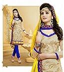 Chanderi Beige Embroidered Unstitched Churidar Suit - 20098