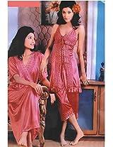 Indiatrendzs Women's Silk Satin Sexy Nighty Fuchsia Pink 3pc Set Bedroom Sleepwear-Free Size