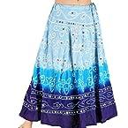 Little India Rajasthani Bandhej Design Cotton Skirt - DLI3SKT206 (Blue)
