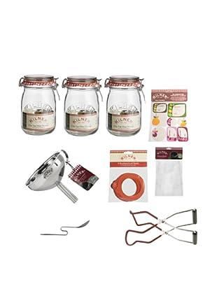 Kilner Set of 3 Clip Top Jars & Preserving Kit (Fruit Blossom)