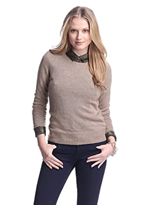 Cashmere Addiction Women's Long Sleeve Crew Neck Sweater (Sable)