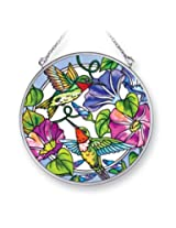 Amia 41408 Hummingbird Morning Glory 4-1/2-Inch Circle Sun Catcher, Medium