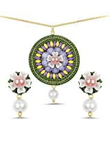Multistone & White Synthetic Pearl Gold Plated Brass Floral Shape Pacchi Kari Pendant Set