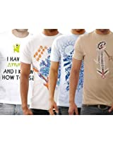 Funktees 100% Mens Round Neck L Size T-shirt - Pack of 4