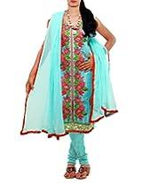 Unnati Silks Women Semi stitched sea blue tussar silk salwar kameez dress material