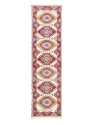 Hand-Knotted Royal Kazak Rug, Cream/Violet/Magenta, 2' 9