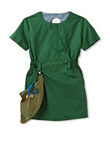 kicokids Girl's Work Wear Short Sleeve Mini-Dress With Removable Tool Belt (Grass)