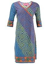Kraft Corridor Women's Cotton Angrakha (AUG017_XL-42, Blue Bandhni, XL-42)