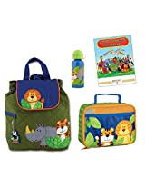 Stephen Joseph Quilted Backpack, Lunch Box, & Bottle Set, Zoo