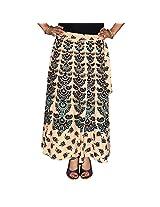 Marusthali Women's Cotton Wrap Skirt (Mwsl00006 _Blue _Large)