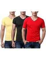 TeeMoods Pack of Three Men's V Neck Tshirts-Red, Yellow & Dark Green_TM-C-1549RED-YEL-MHND-XL