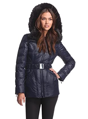 Laundry by Shelli Segal Women's Short Puffer with Belt (Mystic Blue)