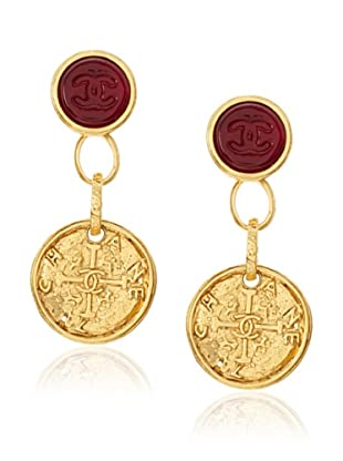 CHANEL Large Gripoix Coin Dangle Earrings
