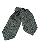 ERA1B04A Dark Sea Green Paisley Working Day Him Cravat Woven Microfiber Mens Ascot Luxury Presents By Epoint