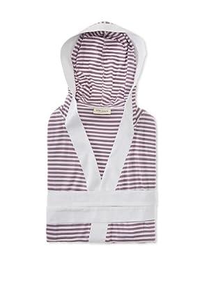 Nine Space Knee Length Striped Jersey Knit Robe (White/Lavender)
